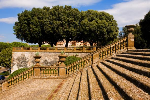 The grand staircase of an Italian historical garden