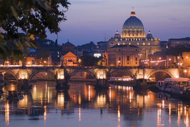 Nightview of Rome's Tevere river with San Peter