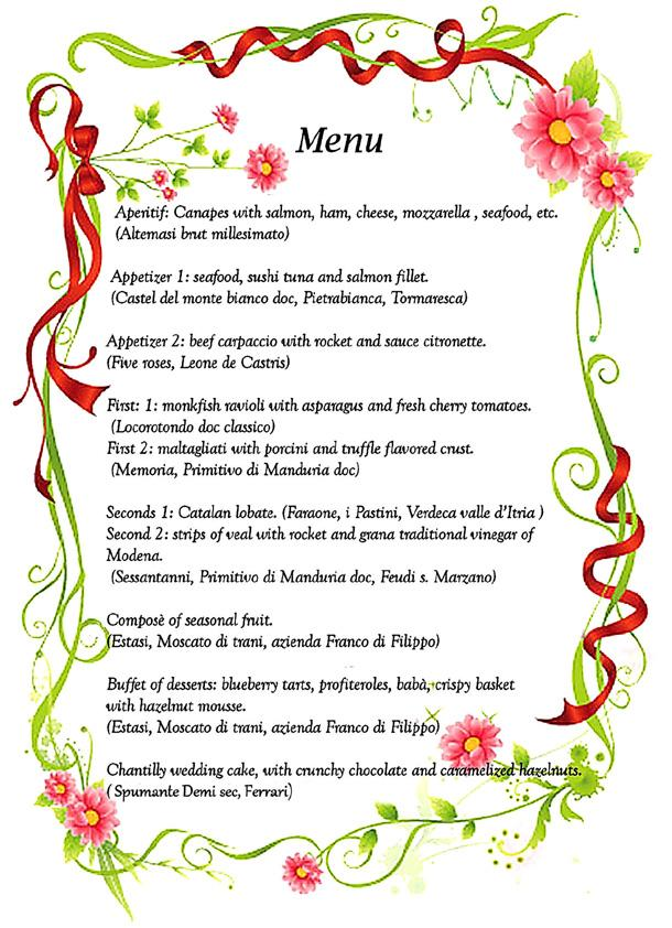Italian Wedding Menu
